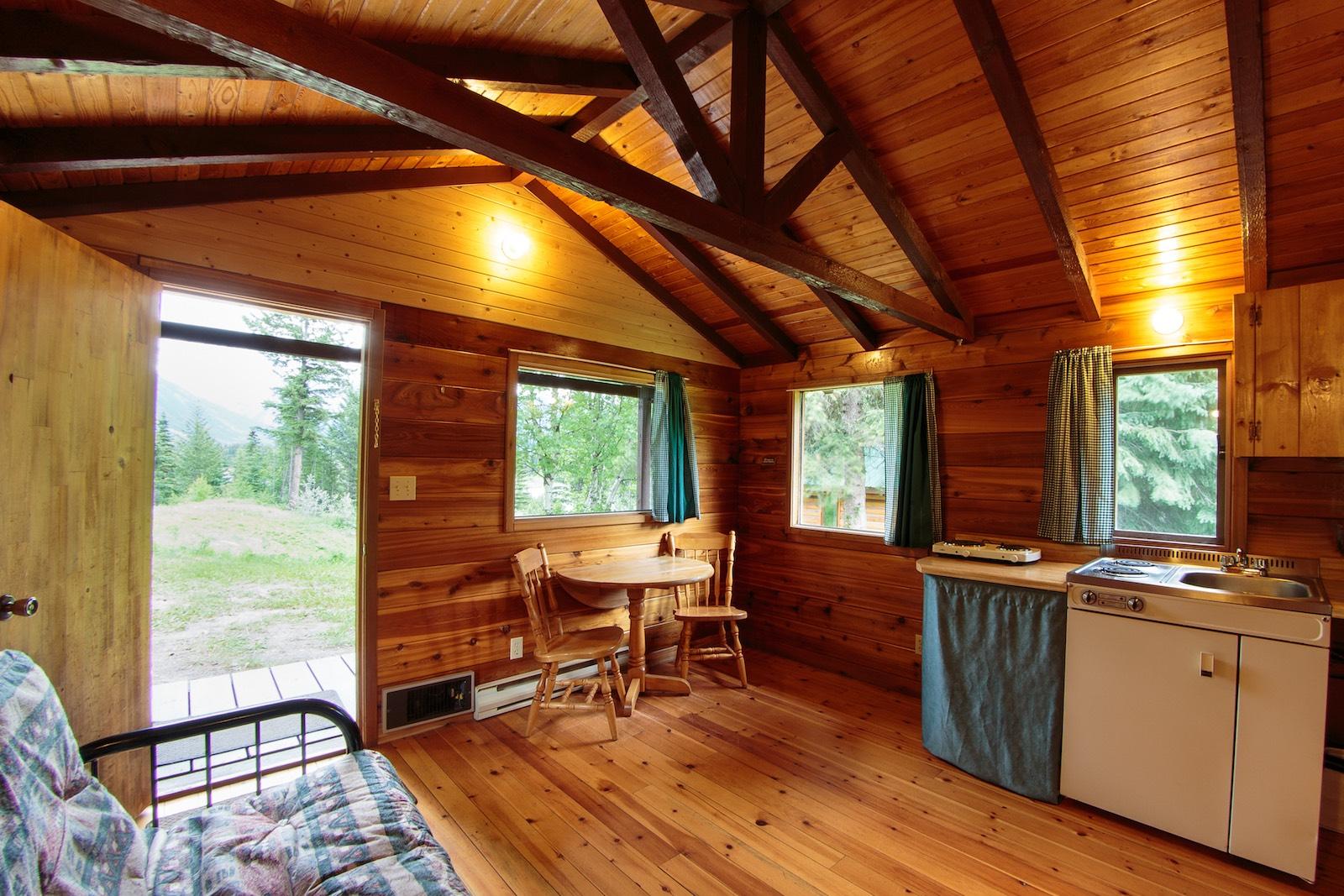 mount robson lodge cabin 2 inside front door